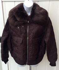 Lauren Ralph Lauren Womens brown quilted plus size bomber jacket crop 1x $285