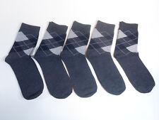 5 Pairs Mens Argyle Dark Gray Fashion Crew Dress Socks Shoe Size 6-11 Diamond