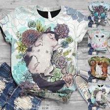 Verano Mujer Top Manga Corta Camiseta Blusa 3D Animal Estampado Informal