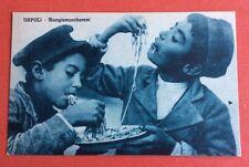 CPA. NAPOLI. Mangiamaccheroni. Mangeurs de Macaronis. Tons Bleus. Naples.
