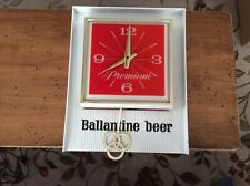 Vintage Ballantine Premium Beer Clock with Pendulum/Light from 1967