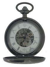Westime Silver Case Vintage Masonic Pocket Watch and Chain Boxed Black