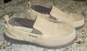 Crocs Walu 11270 Canvas Slip-on Men's Comfort Loafers Size 10 m Shoes Tan Canvas