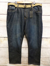 Steve's Jeans Mens Size 46X30 Straight Fit Belted Sam Wash Blue Jeans New
