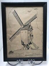 Antique 1918 HARRY Leroy TASKEY Etching WWI MEULEBEKE BELGIUM Windmill Frame