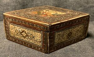 C19th Indian Box With Bovine Bone Panels With Hand Painted Decorated Scenes