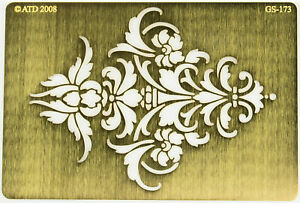 Solid Brass Stencil Template For Embossing & Stenciling Damask GS-173