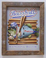 "FISHING HUMOR - JIM BALDWIN - ""BASSBALL"" - RUSTIC TOBACCO LATH FRAME"