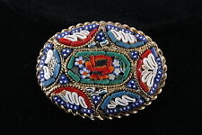 ITALY ANTIQUE BROOCH W/ MOSAIC TILES FASHION 3624