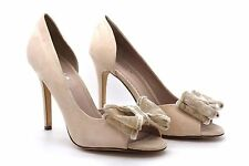 Carvela Kurt Geiger Womens UK 5 EU 38 Beige Faux Suede High Heel Shoes with Bow