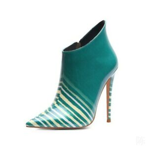 Women Ankle Boots Pointed Toe Stiletto Super High Heel Zipper Shoes Party T Show