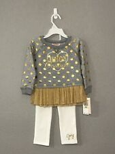 New Juicy Couture Girls Toddler 2Pc Set Size 4T Gray/Gold/White