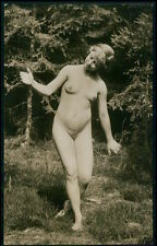 British full nude woman nudist outdoor original c1910-1920s photo postcard