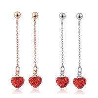 925 Sterling Silver Charm CZ Cubic Zircon Red Heart Ear Stud Dangle Earrings