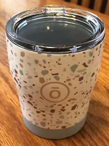 New Doterra Tumbler with lid 4 3/8 tall white Gray tan with specs