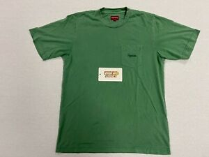 [PRE-OWNED] SUPREME OVERDYED POCKET TEE LOGO SS TOP SHIRT BOX LOGO GREEN MEDIUM