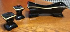 3 Pc Mid Century Stanfordware Planter & Candle Holders Black W/ Gold Trim