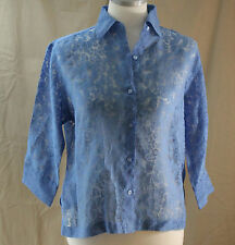 Notations, Small, Cornflower Blue Floral Sheer Button Front Top
