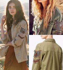 Free People Embellished Military Shirt Jacket Army Olive Green Sand Tan OB504483