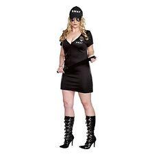 Womens S.W.A.T. Police Costume (3X / 4X, Black)