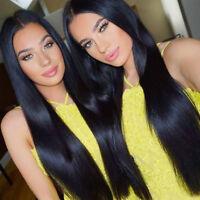 "26"" Brazilian Human Hair Wigs Straight Lace Women Long Front Full Wig Baby Hair"