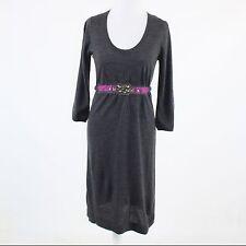 Charcoal gray 100% wool BODEN rhinestone belt 3/4 sleeve sweater dress 4 UK8R