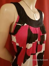 NEW COAST red white black abstract print sleeveless tunic top Size 12 party work