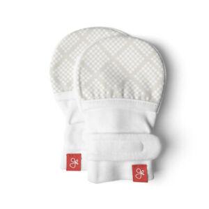 Goumikids Organic No Scratch Baby Infant Hand Mittens, 0-3M Diamond Dots Cream