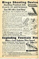 1935 small Print Ad of Bingo Shooting Device & Exploding Fountain Pen