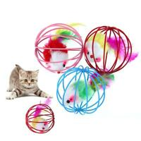 1pc 6.5cm Funny Pet Kitten Cat Playing Feather Mouse Rat Mice Ball Cage Pet Toy