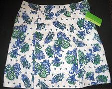 NWT Allyson Whitmore Bogey Golf Box Pleat Skort Skirt Blue Green Paisley Miss 14