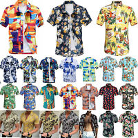 Men Hawaiian Shirt Cruise Tropical Luau Palm Beach Aloha Party Holiday Top S-4XL