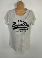 WOMENS SUPERDRY SIZE LARGE GREY BLACK LOGO PRINT CASUAL SHORT SLEEVE T SHIRT TOP