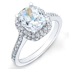 4.20ct Cushion Diamond Engagement Ring 18K White Gold