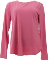 Elizabeth& Clarke Long-Sleeve Knit Top StainTech Pink Quartz S NEW A375109