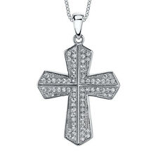 925 Sterling Silver Cubic Zirconia CZ Cross Pendant Necklace Modern Contemperory