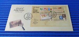 1990 Singapore First Day Cover 150 Years Postage Stamps Miniature Sheet