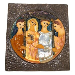 J Ruth Faktor Mid Century Ceramic Pottery Tile Art Plaque Wedding Scene Israel