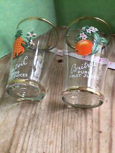 Pair 2 Britvic vintage glasses small tumblers orange pineapple Breweriania rare
