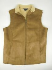 Lands End Vest Womens Size M 10-12 Tan Zip Up Faux Suede Sherpa Lined
