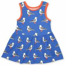 Toby Tiger Organic Cotton Girl's Sleeveless Summer Dress Seagull Print