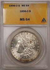 1898-O $1 Morgan Silver Dollar Coin Anacs Ms-64 (8A)