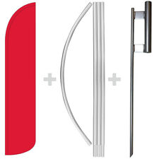 Solid Red 15' Tall Windless Swooper Feather Banner Flag & Pole Kit