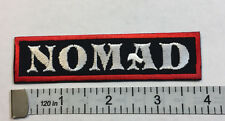 """Custom  Biker Vest Patch NOMAD  4""""X 1""""  WHITE with RED BOARDER"""