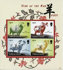 Turks & Caicos 2015 MNH Year of Ram 4v M/S II Chinese Lunar New Year Stamps