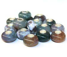 Moosachat Agate NATUR 925 Sterling Silber Bead Beads Donut Edelsteine Charme