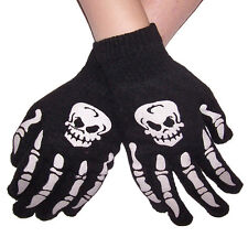 Black Gloves Halloween Spooky Skeleton Skull Teen Adult