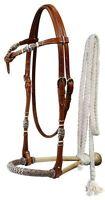 WESTERN HORSE RAWHIDE CORE BOSAL HACKAMORE BITLESS BRIDLE HEADSTALL MECATE REINS