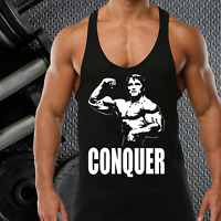 CONQUER GYM VEST STRINGER BODYBUILDING MUSCLE TRAINING TOP FITNESS SINGLET