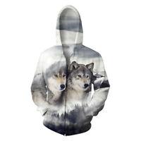 Men Women 3D Wolf Animal Print Zipper Hoodie Hooded Jacket Top Casual Sweatshirt